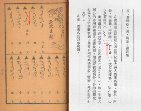 A photo showing two options for embedding Arabic within vertical Chinese text